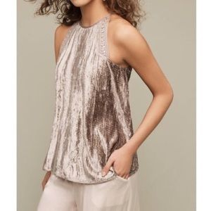 Anthropologie Velvet Embellished Swing Tank Small